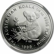 Australia 25 Dollars Koala 2000 KM# 471 THE AUSTRALIAN KOALA 1/4 OZ. 9995 PLATINUM P100 DATE coin reverse