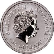 Australia 25 Dollars (Koala) KM# 458 ELIZABETH II AUSTRALIA 25 DOLLARS coin obverse