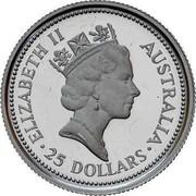 Australia 25 Dollars The Australian Koala 1990 KM# 147 ELIZABETH II AUSTRALIA 25 DOLLARS RDM coin obverse