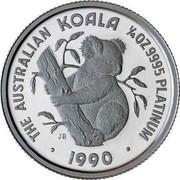 Australia 25 Dollars The Australian Koala 1990 KM# 147 THE AUSTRALIAN KOALA 1/4 OZ 9995 PLATINUM 1990 P JB coin reverse