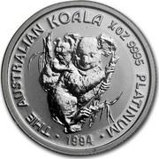 Australia 25 Dollars The Australian Koala 1994 KM# 251 THE AUSTRALIAN KOALA 1/4 OZ 9995 PLATINUM 1994 coin reverse