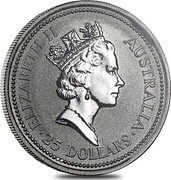 Australia 25 Dollars (The Australian Koala) KM# 124 ELIZABETH II AUSTRALIA 25 DOLLARS RDM coin obverse