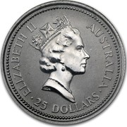 Australia 25 Dollars (The Australian Koala) KM# 109 ELIZABETH II AUSTRALIA 25 DOLLARS RDM coin obverse