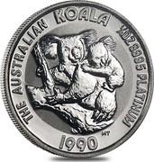 Australia 25 Dollars (The Australian Koala) KM# 124 THE AUSTRALIAN KOALA 1/4 OZ 9995 PLATINUM 1990 MT coin reverse