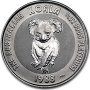 Australia 25 Dollars (The Australian Koala) KM# 109 THE AUSTRALIAN KOALA 1/4 OZ 9995 PLATINUM 1988 MT coin reverse