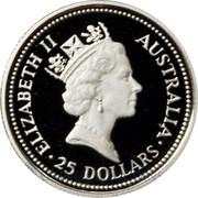 Australia 25 Dollars (The Australian Koala (Eagle Privy)) KM# 193 ELIZABETH II AUSTRALIA 25 DOLLARS RDM coin obverse