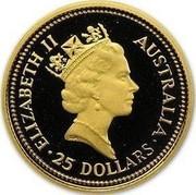 Australia 25 Dollars The Australian Nugget 1988 KM# 105 ELIZABETH II AUSTRALIA 25 DOLLARS RDM coin obverse