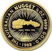 Australia 25 Dollars The Australian Nugget 1988 KM# 105 THE AUSTRALIAN NUGGET 1/4 OZ. FINE GOLD RUBY WELL 1913 P200 SD 1988 coin reverse