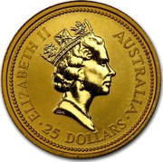 Australia 25 Dollars The Australian Nugget 1990 KM# 119 ELIZABETH II AUSTRALIA 25 DOLLARS RDM coin obverse