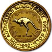 Australia 25 Dollars The Australian Nugget 1990 KM# 119 THE AUSTRALIAN NUGGET 1/4 OZ. 9999 GOLD RED KANGAROO *YEAR* coin reverse