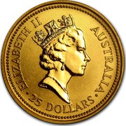 Australia 25 Dollars The Australian Nugget 1992 KM# 167 ELIZABETH II AUSTRALIA 25 DOLLARS RDM coin obverse