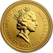 Australia 25 Dollars The Australian Nugget 1992 KM# 391 ELIZABETH II AUSTRALIA 25 DOLLARS RDM coin obverse