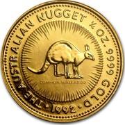 Australia 25 Dollars The Australian Nugget 1992 KM# 167 THE AUSTRALIAN NUGGET 1/4 OZ. 9999 GOLD COMMON WALLAROO *YEAR* coin reverse