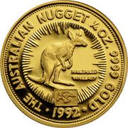Australia 25 Dollars The Australian Nugget 1992 KM# 391 THE AUSTRALIAN NUGGET 1/4 OZ. 9999 GOLD NAILTAILED WALLABY *YEAR* coin reverse