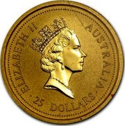 Australia 25 Dollars The Australian Nugget 1996 KM# 274 ELIZABETH II AUSTRALIA 25 DOLLARS RDM coin obverse