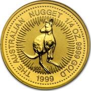 Australia 25 Dollars The Australian Nugget 1999 KM# 450 THE AUSTRALIAN NUGGET 1/4 OZ. 9999 GOLD *YEAR* P100 coin reverse