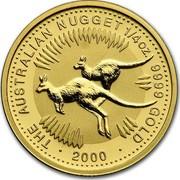 Australia 25 Dollars The Australian Nugget 2000 KM# 466 THE AUSTRALIAN NUGGET 1/4 OZ. 9999 GOLD *YEAR* coin reverse