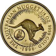 Australia 25 Dollars The Australian Nugget (Prospector Privy) 1996 KM# 322 THE AUSTRALIAN NUGGET 1/2 OZ. 9999 GOLD 1996 P coin reverse