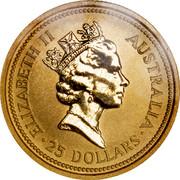 Australia 25 Dollars Whiptail Wallaby 1993 Proof KM# 235 ELIZABETH II AUSTRALIA 25 DOLLARS coin obverse