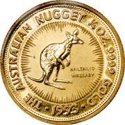 Australia 25 Dollars Whiptail Wallaby 1993 Proof KM# 235 THE AUSTRALIAN NUGGET 1/4 OZ. 9999 GOLD 1993 NAILTAILED WALLABY coin reverse
