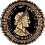 Australia 250 Dollars 40th Anniversary - Reign. Queen Mother 1992 Proof KM# 204 coin reverse