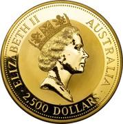 Australia 2500 Dollars The Australian Kangaroo 1991 KM# 151 ELIZABETH II AUSTRALIA 2,500 DOLLARS RDM coin obverse