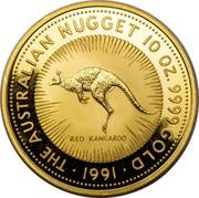 Australia 2500 Dollars The Australian Kangaroo 1991 KM# 151 THE AUSTRALIAN NUGGET 10 OZ. 9999 GOLD 1991 RED KANGAROO coin reverse