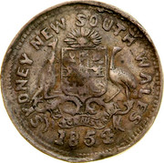 Australia 3 Pence 1854 KM# Tn253 Private Token issues SYDNEY NEW SOUTH WALES 1854 coin obverse