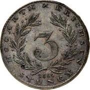 Australia 3 Pence 1860 KM# Tn118 Private Token issues HOCARTH ERICHSEN 3 SYDNEY coin obverse