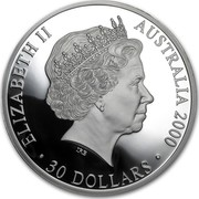 Australia 30 Dollars Olympic Masterpiece 2000 KM# 520 ELIZABETH II AUSTRALIA 2000 30 DOLLARS IRB coin obverse