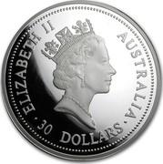 Australia 30 Dollars The Australian Kookaburra 1994 KM# 271 ELIZABETH II AUSTRALIA 30 DOLLARS RDM coin obverse