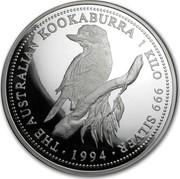 Australia 30 Dollars The Australian Kookaburra 1994 KM# 271 THE AUSTRALIAN KOOKABURRA 1 KILO 999 SILVER *YEAR* coin reverse
