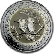 Australia 30 Dollars The Australian Kookaburra 1994 KM# 232 THE AUSTRALIAN KOOKABURRA 1 KILO 999 SILVER 1994 coin reverse
