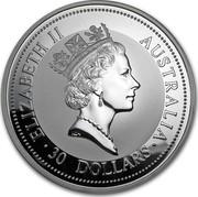 Australia 30 Dollars The Australian Kookaburra 1998 KM# 495 ELIZABETH II AUSTRALIA 30 DOLLARS RDM coin obverse