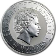 Australia 30 Dollars The Australian Kookaburra 2001 KM# 447 ELIZABETH II AUSTRALIA 30 DOLLARS IRB coin obverse