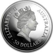 Australia 30 Dollars (The Australian Kookaburra) KM# 229 ELIZABETH II AUSTRALIA 30 DOLLARS RDM coin obverse