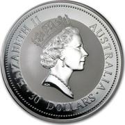 Australia 30 Dollars (The Australian Kookaburra) KM# 292 ELIZABETH II AUSTRALIA 30 DOLLARS RDM coin obverse