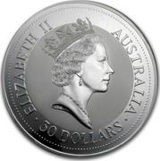 Australia 30 Dollars (The Australian Kookaburra) KM# 181 ELIZABETH II AUSTRALIA 30 DOLLARS RDM coin obverse