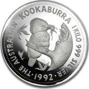 Australia 30 Dollars (The Australian Kookaburra) KM# 229 THE AUSTRALIAN KOOKABURRA 1 KILO 999 SILVER *YEAR* P coin reverse