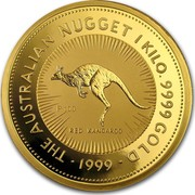 Australia 3000 Dollars The Australian Kangaroo 1999 KM# 455 THE AUSTRALIAN NUGGET 1 KILO. 9999 GOLD *YEAR* RED KANGAROO P100 coin reverse