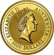 Australia 3000 Dollars The Australian Nugget 1997 KM# 184 ELIZABETH II AUSTRALIA 3000 DOLLARS RDM coin obverse