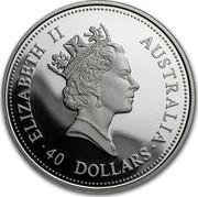 Australia 40 Dollars The Australian Emu 1995 KM# 313 ELIZABETH II AUSTRALIA 40 DOLLARS RDM coin obverse