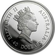 Australia 40 Dollars The Australian Emu 1996 KM# 343 ELIZABETH II AUSTRALIA 40 DOLLARS RDM coin obverse