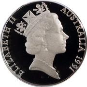 Australia 5 Cents Echidna 1991 KM# 80a ELIZABETH II AUSTRALIA 1991 RDM coin obverse