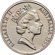 Australia 5 Cents Echidna 1997 Proof KM# 80 ELIZABETH II AUSTRALIA *YEAR* RDM coin obverse
