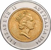 Australia 5 Dollars (100 Years of Womens Enfranchisement South Australia) KM# 224 ELIZABETH II AUSTRALIA 1994 RDM coin obverse