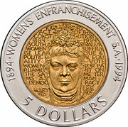 Australia 5 Dollars (100 Years of Womens Enfranchisement South Australia) KM# 224 1894 WOMENS ENFRANCHISEMENT S.A. 1994 100 YEARS ACT OF THE CONSTITUTION 1894 1984 WOMENS SUFFRAGE LEAGUE & POLITICAL EQUALITY - VOTE WOMEN FOR PARLIAMENT ON THE SAME TERMS AS MAN. DEMOCRACY MARY LEE 1821 - 1909 5 DOLLARS coin reverse