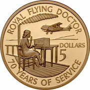 Australia 5 Dollars 70 Years of Services - Royal Flying Doctors 1998 KM# 386 ROYAL FLYING DOCTOR DOLLARS 5 70 YEARS OF SERVICE coin reverse
