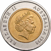 Australia 5 Dollars 70 Years of the Royal Flying Doctors Service 1998 KM# 374 ELIZABETH II AUSTRALIA 1998 IRB coin obverse