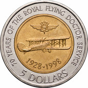 Australia 5 Dollars 70 Years of the Royal Flying Doctors Service 1998 KM# 374 70 YEARS OF THE ROYAL FLYING DOCTOR SERVICE 1928-1998 5 DOLLARS coin reverse